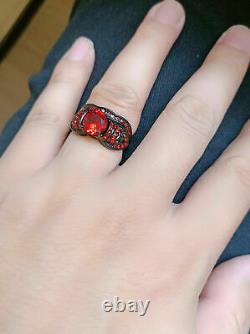 His Her Trio Couple Skull Rings Wedding Set Red Garnet 14K Black Gold Finish