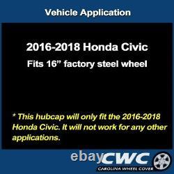Hubcap Set for Honda Civic 2016-2020 OEM with Custom Matte Black Finish 16-in