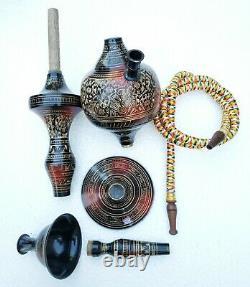 Hukka 22 Black Indian Brass Vintage folding Hooka Set Pipes Antique Finished