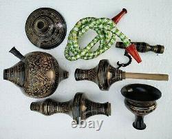 Hukka 30 Black Indian Brass Vintage folding Hooka Set Pipes Antique Finished