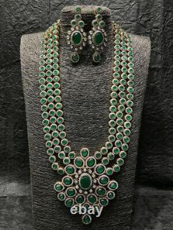 Indian Bollywood Style CZ Black antique finish Emerald Long Necklace Set Raani 1