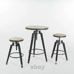 Jessica Modern Industrial Antique Finish Firwood Adjustable Bar Table Set