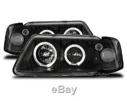 LED Angel Eyes headlight set in black finish fit for Audi A3 8L 96-00