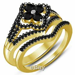 Ladies 1.00 Ct Black Diamond 14K Yellow Gold Finish Wedding Band Bridal Ring Set