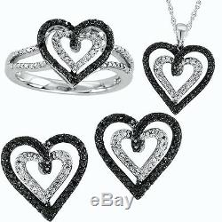 Ladies White Gold Finish Black/White Diamond Heart Ring Earrings Pendant Set