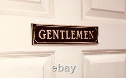 Ladies and Gentlemen Brass Restroom Signs Set, Rustic Farmhouse Antiqued Finish