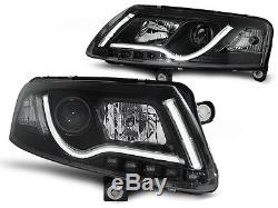 Lightbar Headlights set FOR Audi A6 C6 04-08 in Clear Black color finish