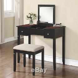 Linon Camden Vanity Table and Chair Set Black Cherry Finish
