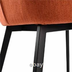 Maine Dining Chair in Matte Black Finish and Orange Fabric Set of 2