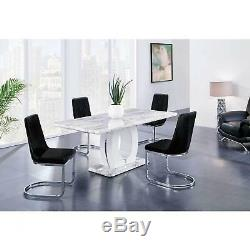 Marble Top Table Black Finish Dining Set 5 Global USA D894DT WithD1067 DC-BL