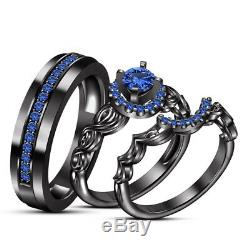 Men And Ladies Sapphire And Black Gold Finish Trio Set Wedding Engagement Rings
