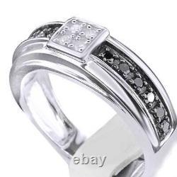 Men Black White Diamond Engagement Ring Prong Set Wedding Band White Gold Finish