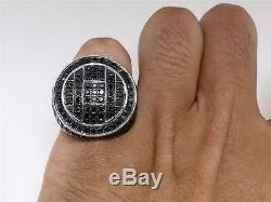 Mens Black Diamond Ring in White Gold Finish Pave Set Pinky Band Ring 4.49 Ct