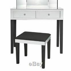 Mirrored Finish 2 pc Vanity Set Table Black Stool Makeup Storage Desk Bedroom