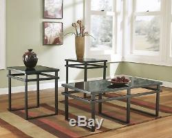 Modern 3pc Occasional Table Set Glass Top Metal Base Black Finish Living Room