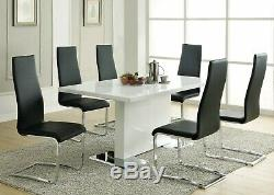 Modern 7-Piece Dining Set White Lacquer Finish & Black Faux Leather Side Chairs