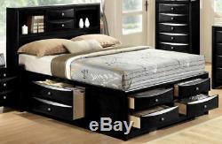 Modern Black Finish Storage King Size Bedroom Set 3 Pcs Crown Mark B4285 Emily