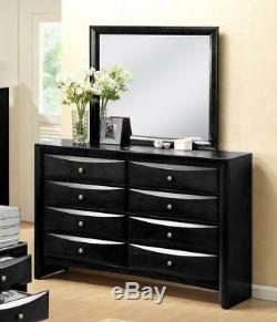 Modern Black Finish Storage King Size Bedroom Set 5 Pcs Crown Mark B4285 Emily