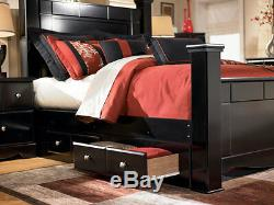 Modern Design Black Finish 5 pieces Bedroom Set with King Poster Storage Bed IA0J