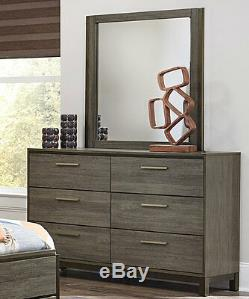 Modern Design Gray Finish 5 piece Bedroom Set Furniture with King Panel Bed IA6G