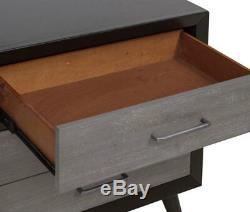 Modern Gray & Black Finish Furniture 5pcs King Size Storage Bedroom Set IA49