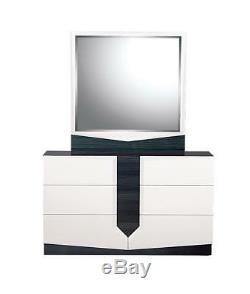 Modern High-gloss White Finish Queen Bedroom Set 5Pcs Hudson Global USA