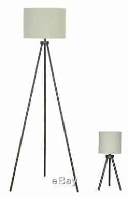 Modern Tripod Table and Floor Lamp Set, Black Metal Finish, Living Room Lamps