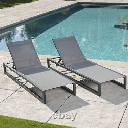 Mottetta Outdoor Finished Aluminum Framed Chaise Lounge with Mesh Body