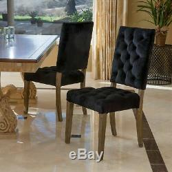 Myrtle Button Tufted Black Velvet Dining Chairs with Distressed Finish (Set of 2)