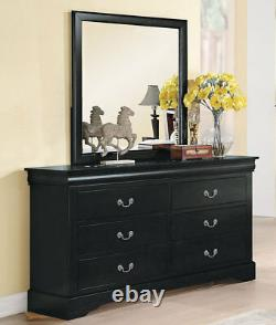 NEW Black Finish 5 piece Bedroom Set with King Bookcase Headboard Storage Bed IAB5