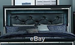 NEW Modern Black Finish Bedroom Furniture 5pcs King LED Lighted Bed Set IA4O