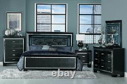 NEW Modern Black Finish Bedroom Furniture 5pcs Queen LED Lighted Bed Set IA4O