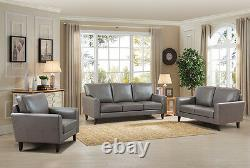 NEW Modern Style 3pc Set Gray Finish Sofa Loveseat & Chair Living Home Furniture