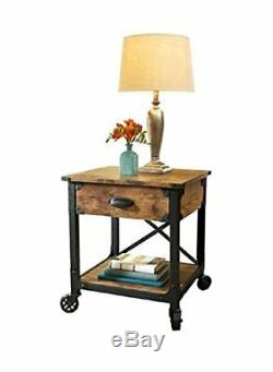 NEW Set of 2 Rustic Side Tables Country Pine Finish Wood & Metal End Nightstand