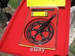 NIB rare ZEUS 2000 black finish crank set with Ti BB factory drilled 53/42 rings