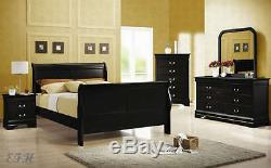New 4pc Sherry Deep Black Finish Wood Queen Sleigh Bedroom Set