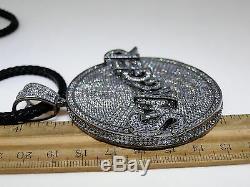 New Mens Black Gold Finish White Simulated Diamond Swagger Charm + Chain Set