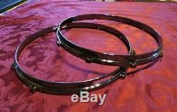 OCDP 14 10 Lug Die Cast Snare Drum Hoops Rims Set Black Nickel Finish ddrum