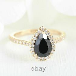 Pear Cut Black Diamond Engagement Wedding Bridal Ring Set 14k Rose Gold Finish
