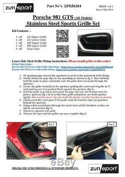 Porsche Cayman/Boxster 981 GTS Outer Grille Set Black finish (2014 to 2016)