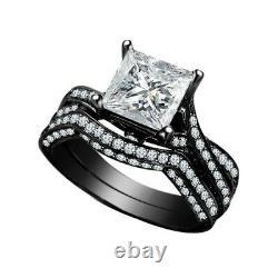 Princess White Diamond 14K Black Gold Finish Wedding Engagement Bridal Ring Set