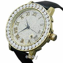 Roman Numeral Face 1 Row Channel Set Bezel Gold Tone Finish Real Diamonds Watch