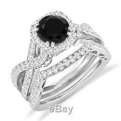 Round Cut Black Diamond Engagement Wedding Bridal Ring Set 14k White Gold Finish