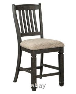 Rustic Cottage Black Finish 7pc Counter Height Dining Room Set Table Chairs IC0O