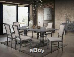 Rustic Weathered Gray Finish 7 piece Dining Room Furniture Table Chairs Set ICAG
