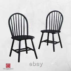 SOLID WOOD CHAIRS SET OF 2 Kitchen Nook Dining Room Seat Farmhouse 4 Finishes