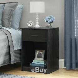 Set 2 Black Finish Nightstand Bedside Table 1 Drawer End Side Storage Bedroom