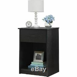 Set 2 Black Finish Nightstand Bedside Table Storage 1 Drawer End Side Bedroom