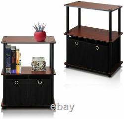 Set 2 Dark Cherry Finish Nightstand Bedside Table End Side Storage 2 Black Bins