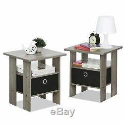 Set 2 Gray Finish Wooden End Table Nightstand Accent Side Black Drawer Storage